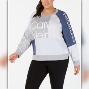Calvin Klein Plus Size Colorblocked Logo Sweater